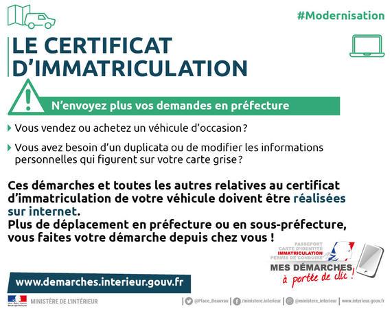carte grise gouv fr changement d adresse Cartes grises / Démarches administratives / Accueil   Les services